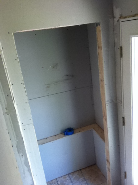 Drywall for the closet in the mudroom.