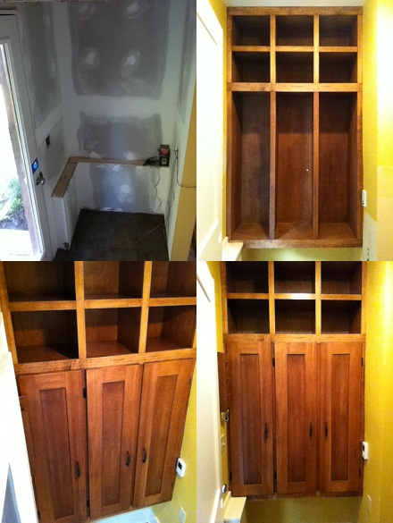 Custom Mudroom Locker Cabinets Before and After