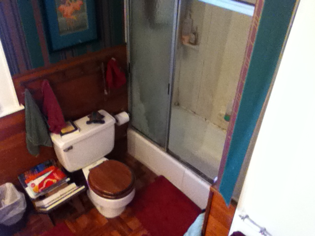 Old Shower and Stool Before Remodel