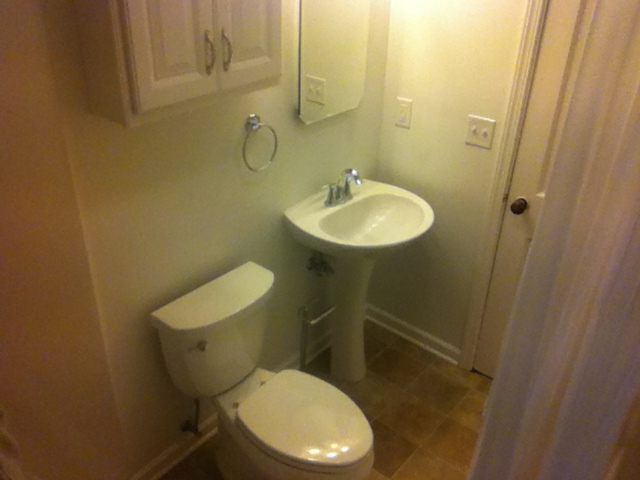 Remodeled Pedastal Sink and Cabinets