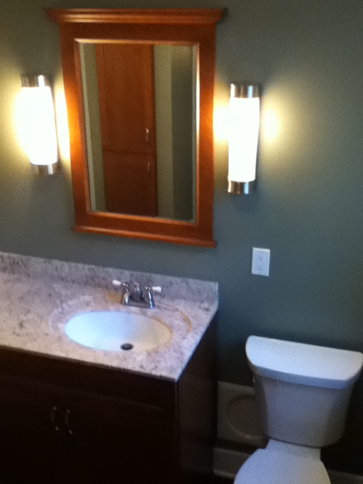 Remodeled Bathroom Vanity and Framed Mirror