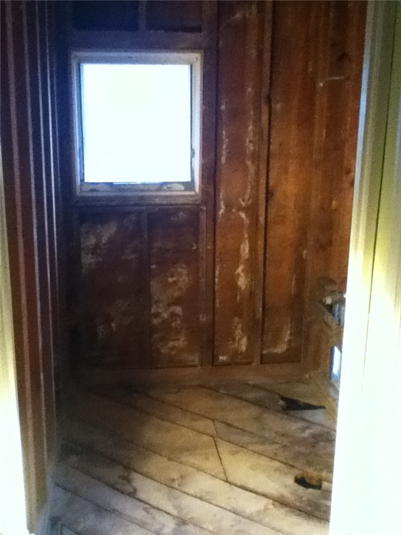 Bathroom demolished to bare studs. Window removed for walk-in shower installation.