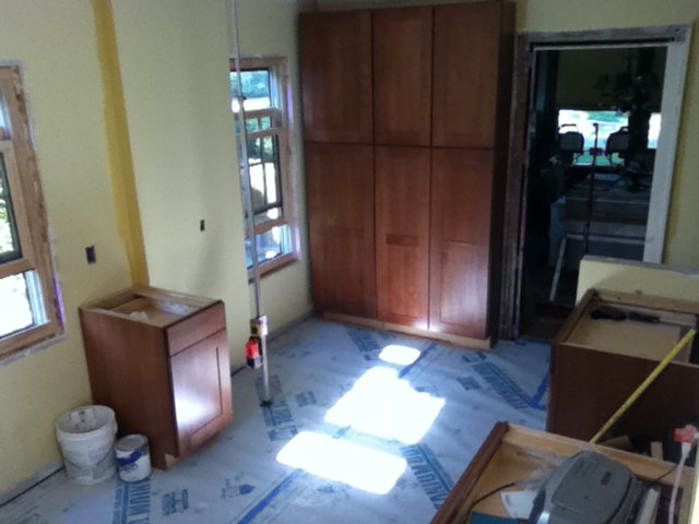 Kitchen Pantry Style Cabinets installed as well as base cabinets.
