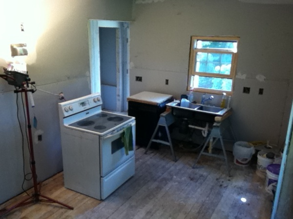 Drywall hung in remodeled kitchen, not yet sanded and finished.