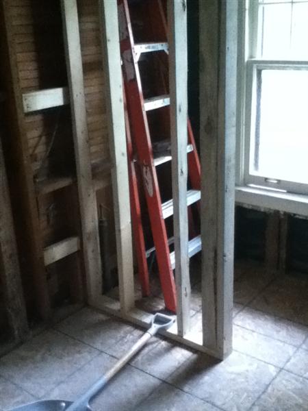 Wall framed for new fiberglass shower stall.