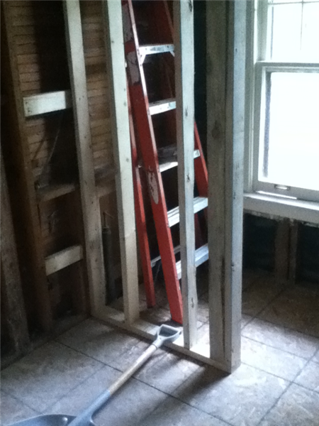 Wall framed for new fiberglass shower stall.
