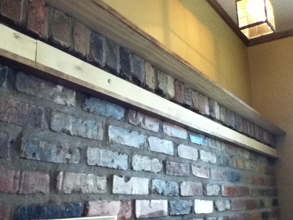 Wood over Brick Fireplace Mantel